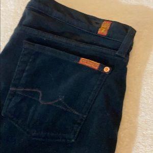 7 for all Mankind black stretchy velvet pants